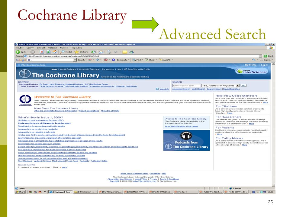 25 Cochrane Library Advanced Search