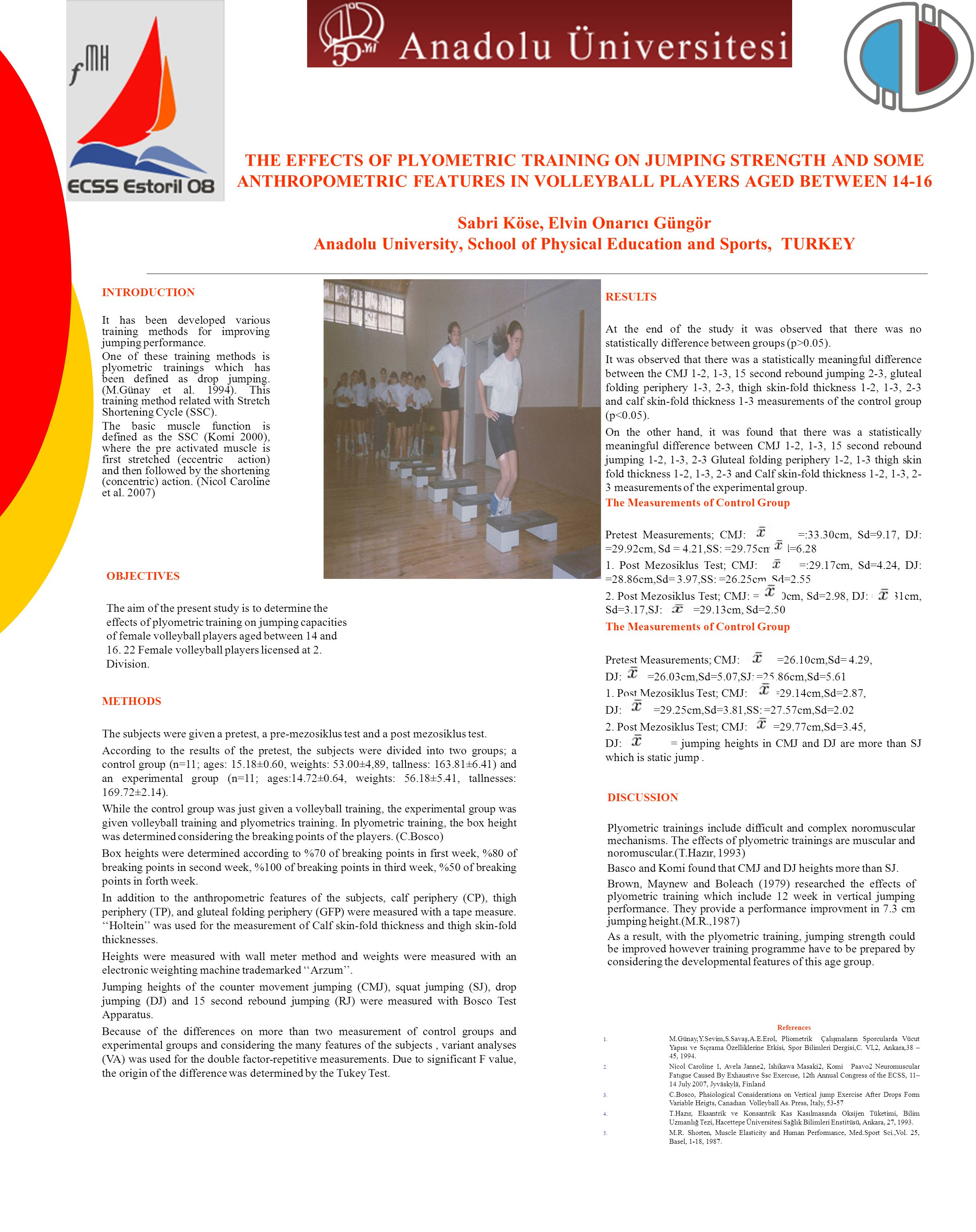 THE EFFECTS OF PLYOMETRIC TRAINING ON JUMPING STRENGTH AND SOME ANTHROPOMETRIC FEATURES IN VOLLEYBALL PLAYERS AGED BETWEEN 14-16 Sabri Köse, Elvin Onarıcı Güngör Anadolu University, School of Physical Education and Sports, TURKEY INTRODUCTION It has been developed various training methods for improving jumping performance.