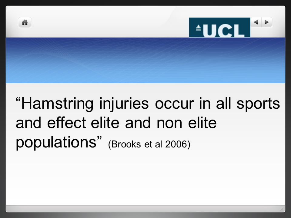"""Hamstring injuries occur in all sports and effect elite and non elite populations"" (Brooks et al 2006)"