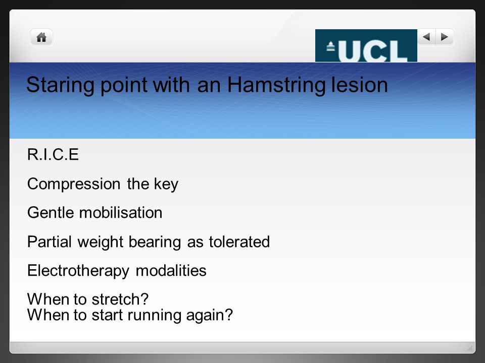 Staring point with an Hamstring lesion R.I.C.E Compression the key Gentle mobilisation Partial weight bearing as tolerated Electrotherapy modalities W