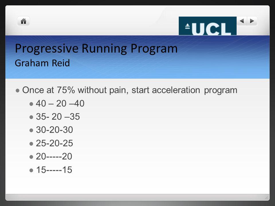 Progressive Running Program Graham Reid Once at 75% without pain, start acceleration program 40 – 20 –40 35- 20 –35 30-20-30 25-20-25 20-----20 15-----15