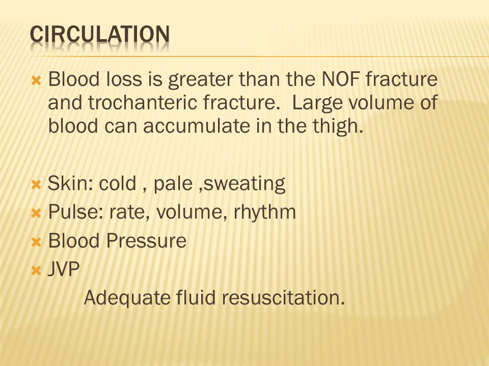  Blood loss is greater than the NOF fracture and trochanteric fracture. Large volume of blood can accumulate in the thigh.  Skin: cold, pale,sweatin