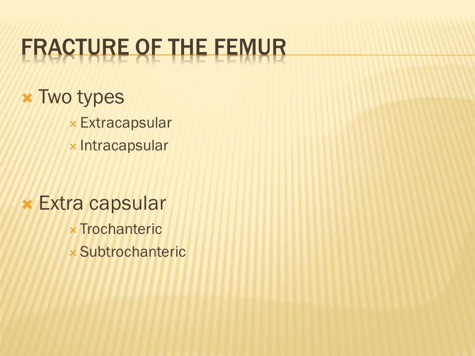  Two types  Extracapsular  Intracapsular  Extra capsular  Trochanteric  Subtrochanteric