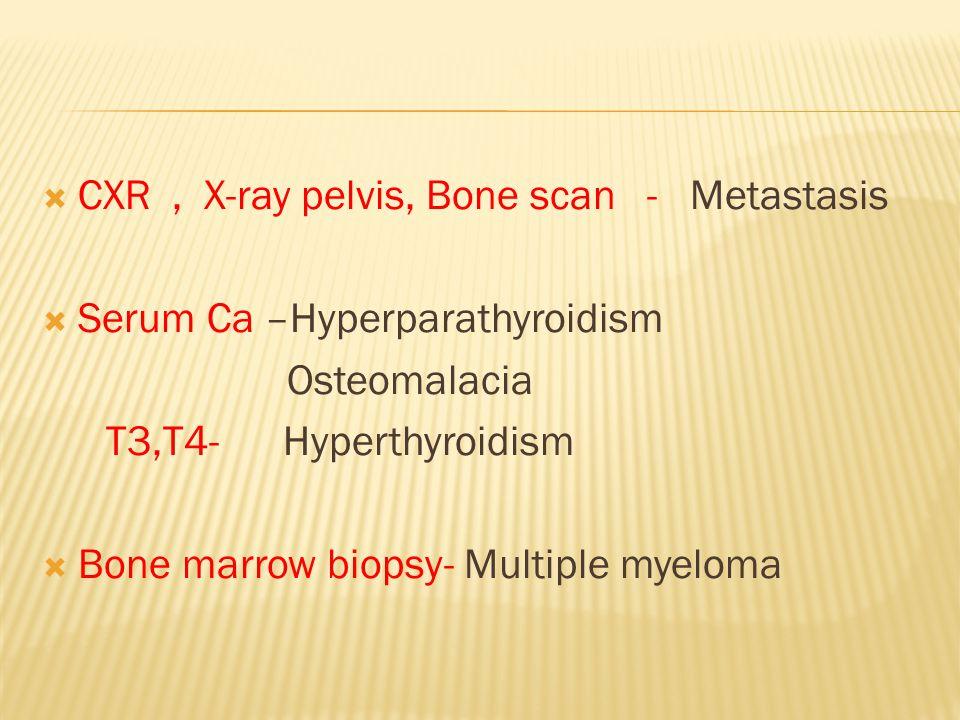  CXR, X-ray pelvis, Bone scan - Metastasis  Serum Ca –Hyperparathyroidism Osteomalacia T3,T4- Hyperthyroidism  Bone marrow biopsy- Multiple myeloma