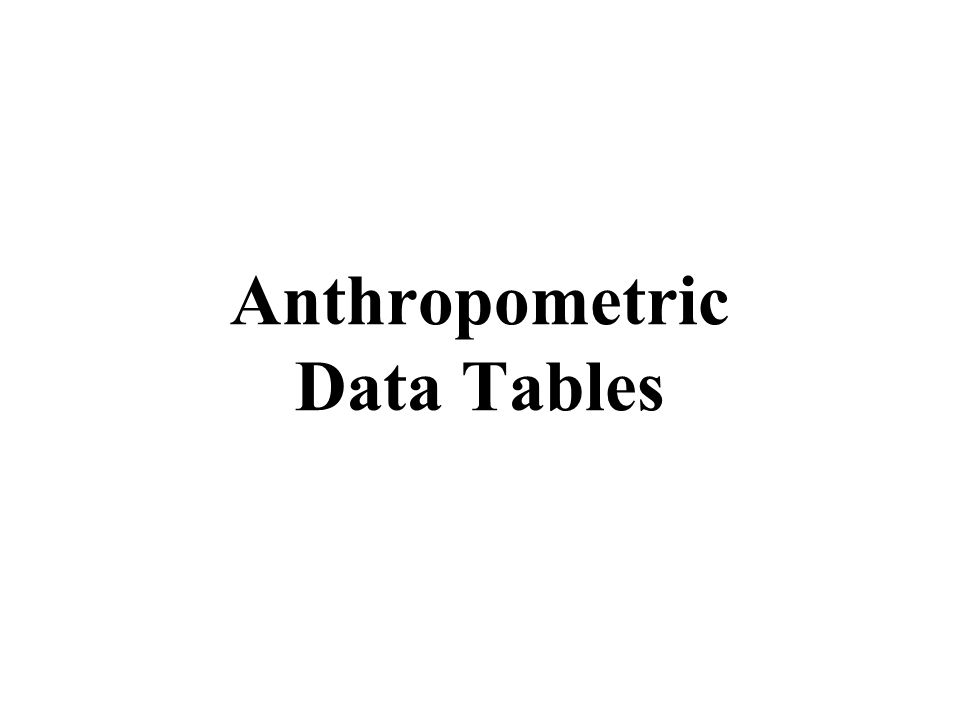 Anthropometric Data Tables