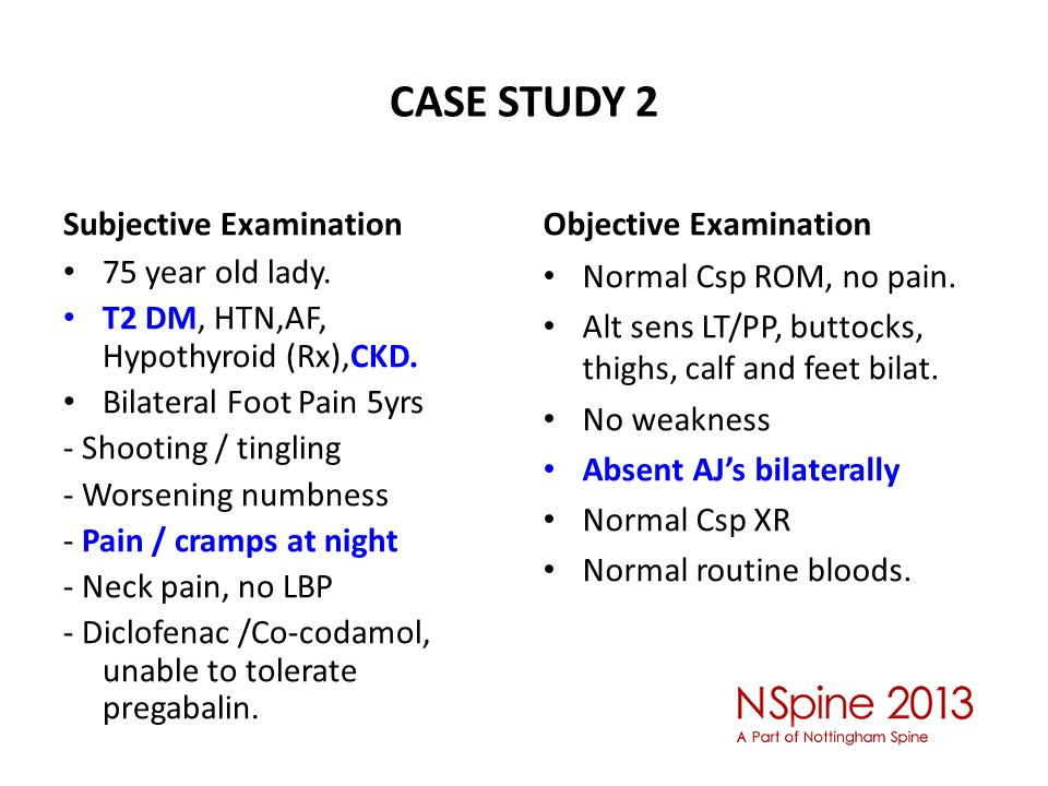 CASE STUDY 2 Subjective Examination 75 year old lady.