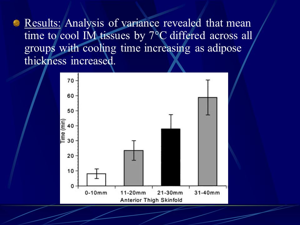 Results: Analysis of variance revealed that mean time to cool IM tissues by 7  C differed across all groups with cooling time increasing as adipose t