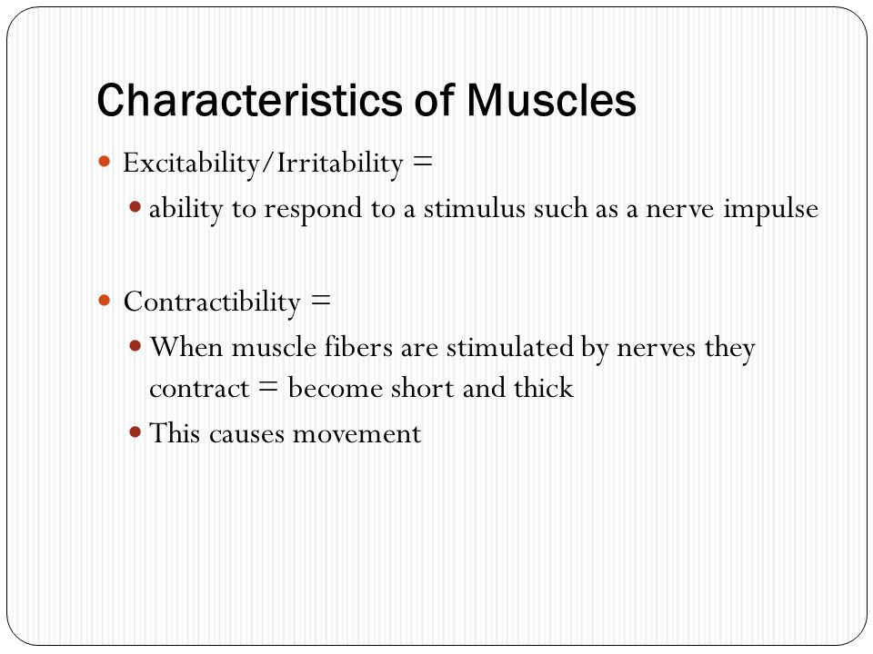 Characteristics of Muscles Excitability/Irritability = ability to respond to a stimulus such as a nerve impulse Contractibility = When muscle fibers a