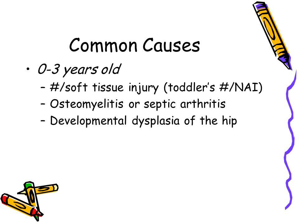 Common Causes 0-3 years old –#/soft tissue injury (toddler's #/NAI) –Osteomyelitis or septic arthritis –Developmental dysplasia of the hip