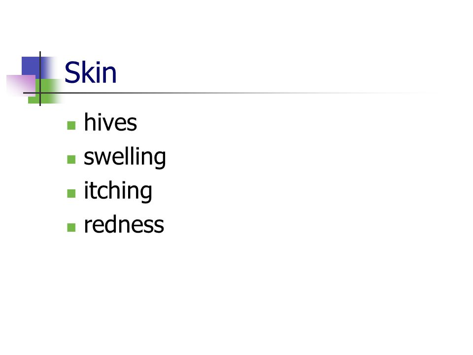 Skin hives swelling itching redness