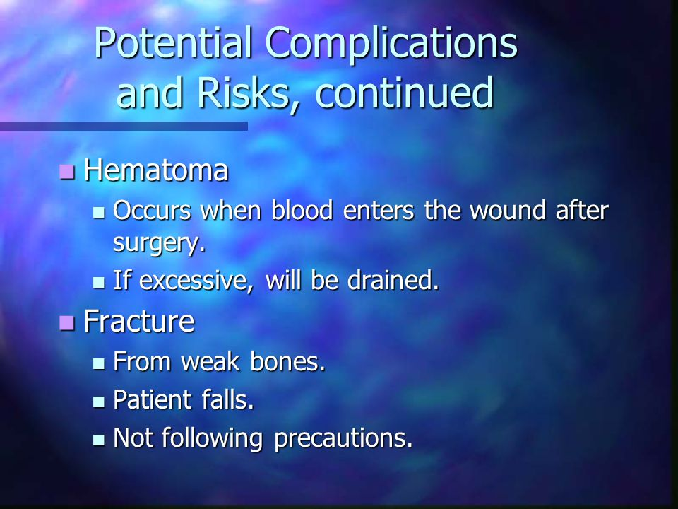 Potential Complications and Risks, continued Hematoma Hematoma Occurs when blood enters the wound after surgery.