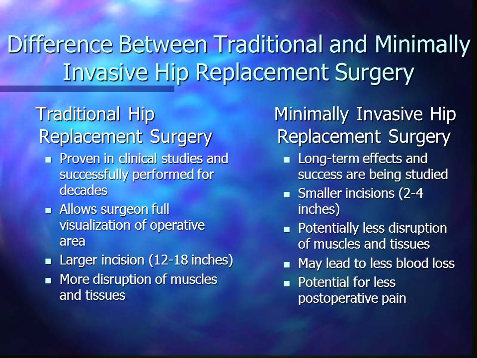 Difference Between Traditional and Minimally Invasive Hip Replacement Surgery Traditional Hip Replacement Surgery Traditional Hip Replacement Surgery Proven in clinical studies and successfully performed for decades Proven in clinical studies and successfully performed for decades Allows surgeon full visualization of operative area Allows surgeon full visualization of operative area Larger incision (12-18 inches) Larger incision (12-18 inches) More disruption of muscles and tissues More disruption of muscles and tissues Minimally Invasive Hip Replacement Surgery Long-term effects and success are being studied Smaller incisions (2-4 inches) Potentially less disruption of muscles and tissues May lead to less blood loss Potential for less postoperative pain