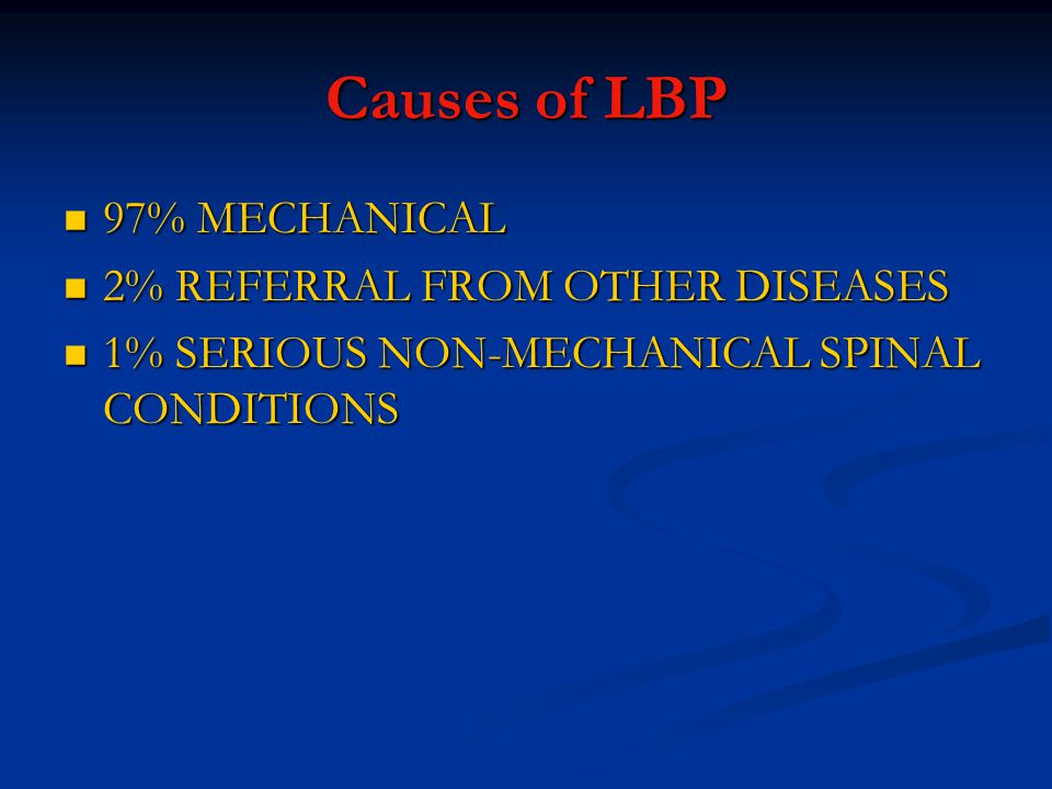 Causes of LBP 97% MECHANICAL 97% MECHANICAL 2% REFERRAL FROM OTHER DISEASES 2% REFERRAL FROM OTHER DISEASES 1% SERIOUS NON-MECHANICAL SPINAL CONDITIONS 1% SERIOUS NON-MECHANICAL SPINAL CONDITIONS