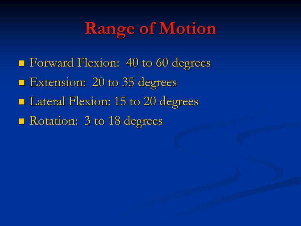 Range of Motion Forward Flexion: 40 to 60 degrees Forward Flexion: 40 to 60 degrees Extension: 20 to 35 degrees Extension: 20 to 35 degrees Lateral Flexion: 15 to 20 degrees Lateral Flexion: 15 to 20 degrees Rotation: 3 to 18 degrees Rotation: 3 to 18 degrees