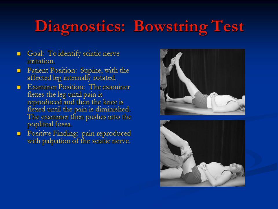 Diagnostics: Bowstring Test Goal: To identify sciatic nerve irritation.