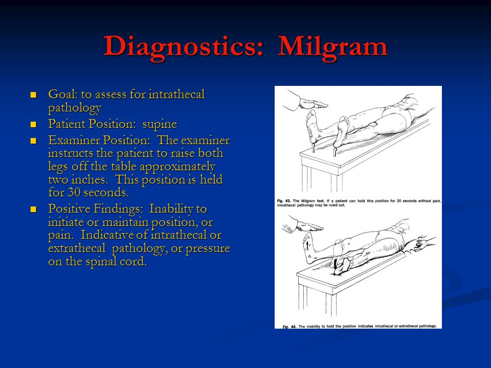 Diagnostics: Milgram Goal: to assess for intrathecal pathology Goal: to assess for intrathecal pathology Patient Position: supine Patient Position: supine Examiner Position: The examiner instructs the patient to raise both legs off the table approximately two inches.