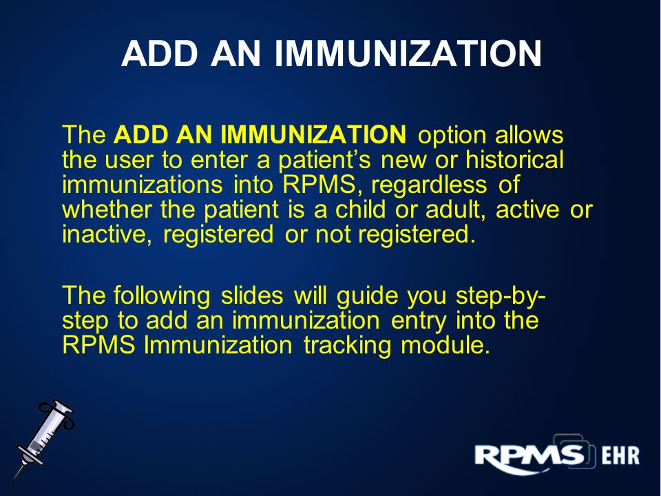 Immunization Main Menu From the Immunization Main Menu, select the Patient Menu.