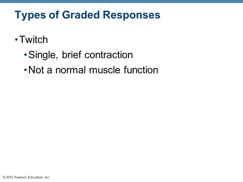 © 2012 Pearson Education, Inc. Types of Graded Responses Twitch Single, brief contraction Not a normal muscle function