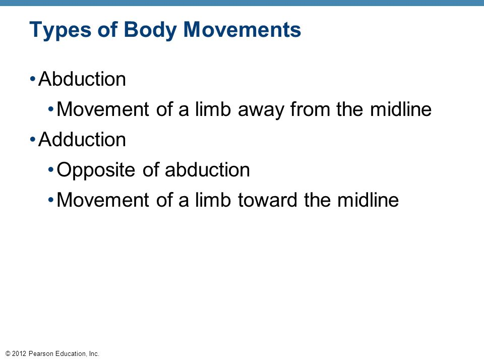 © 2012 Pearson Education, Inc. Types of Body Movements Abduction Movement of a limb away from the midline Adduction Opposite of abduction Movement of