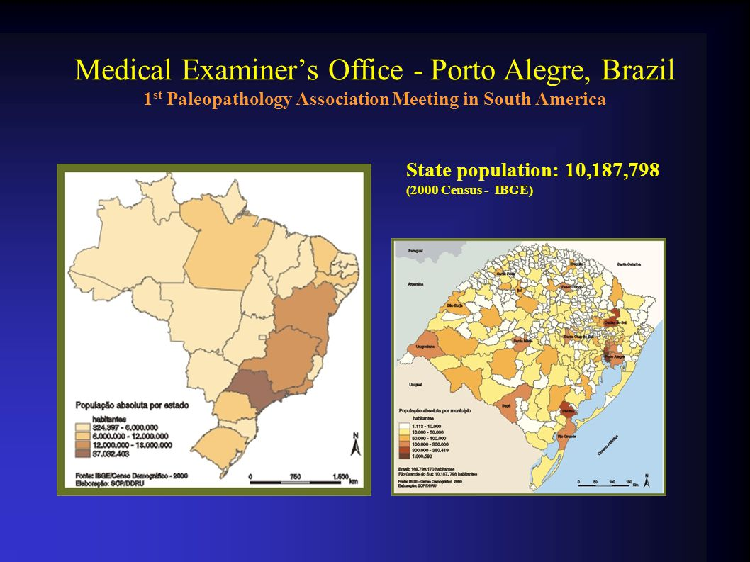 Medical Examiner's Office - Porto Alegre, Brazil 1 st Paleopathology Association Meeting in South America State population: 10,187,798 (2000 Census - IBGE)