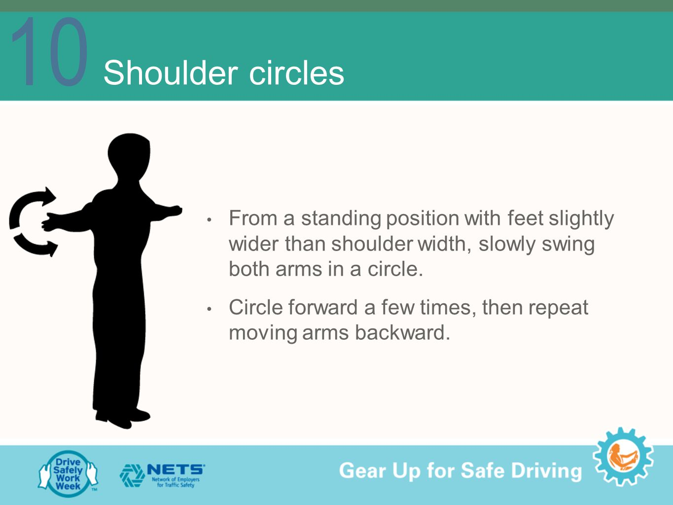 10 Shoulder circles From a standing position with feet slightly wider than shoulder width, slowly swing both arms in a circle.