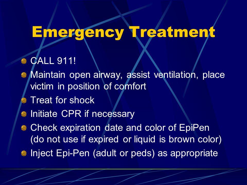 Emergency Treatment CALL 911.