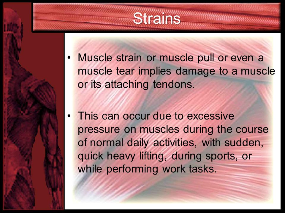 Strains Muscle strain or muscle pull or even a muscle tear implies damage to a muscle or its attaching tendons. This can occur due to excessive pressu