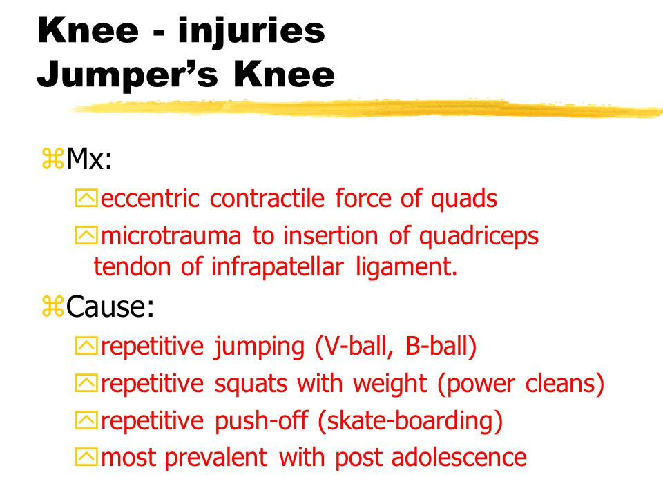 Knee - injuries Subpatellar Pain Syndrome zTx: ystrengthen V.