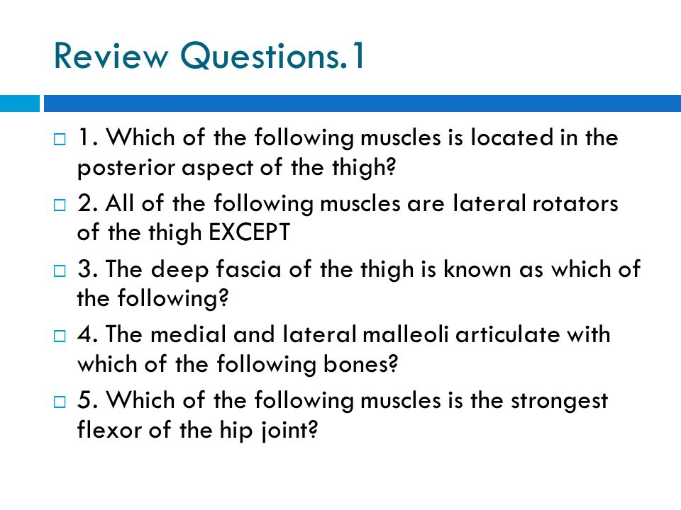 Review Questions.1  1. Which of the following muscles is located in the posterior aspect of the thigh?  2. All of the following muscles are lateral