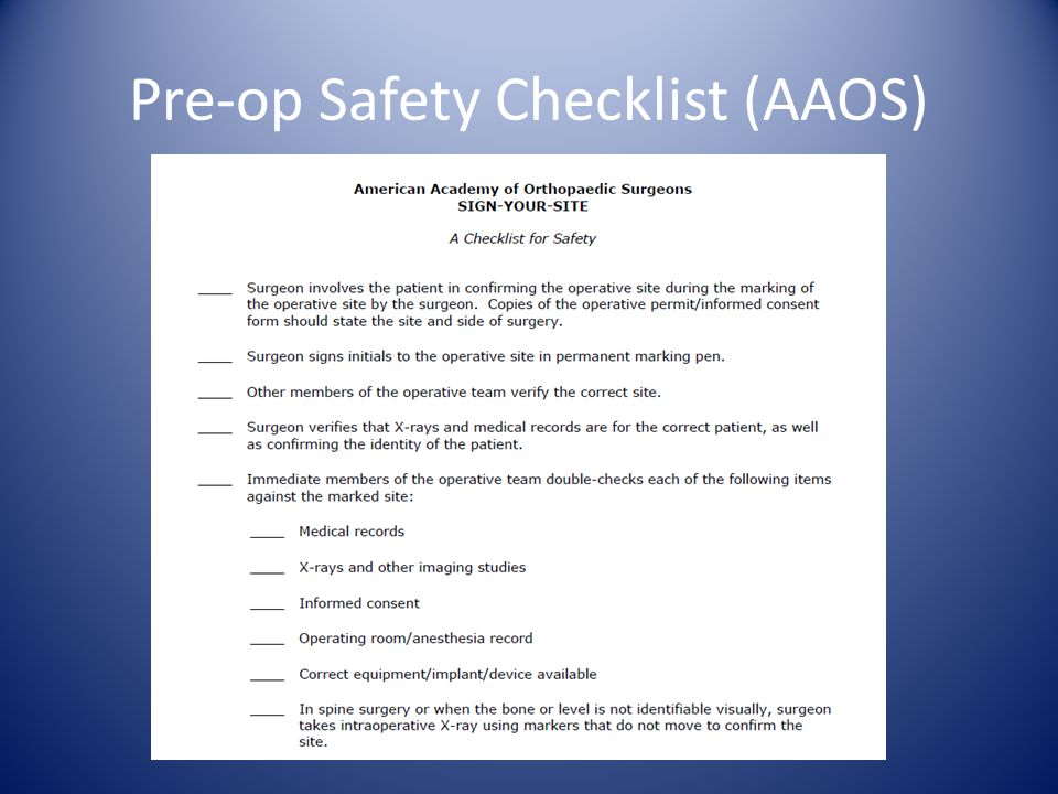 Pre-op Safety Checklist (AAOS)
