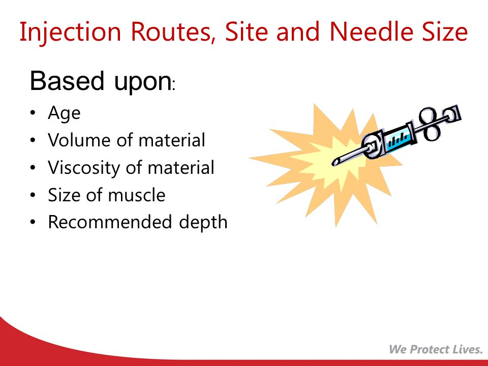 Injection Routes, Site and Needle Size Based upon : Age Volume of material Viscosity of material Size of muscle Recommended depth