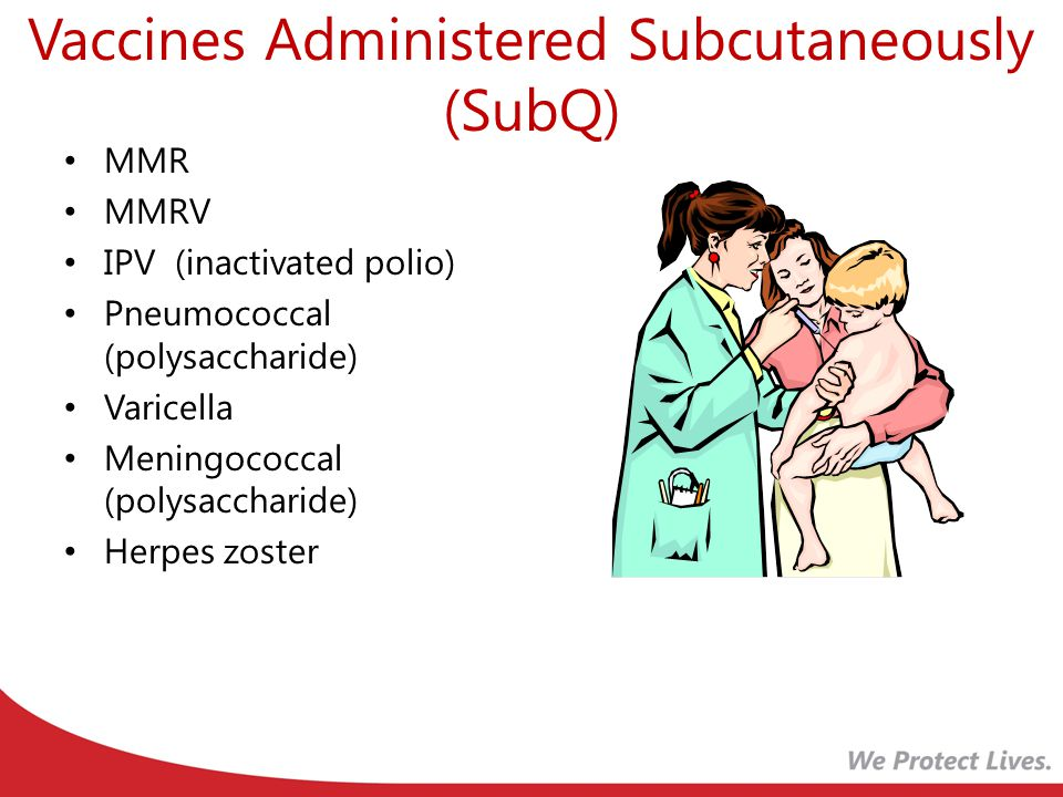 Vaccines Administered Subcutaneously (SubQ) MMR MMRV IPV (inactivated polio) Pneumococcal (polysaccharide) Varicella Meningococcal (polysaccharide) Herpes zoster