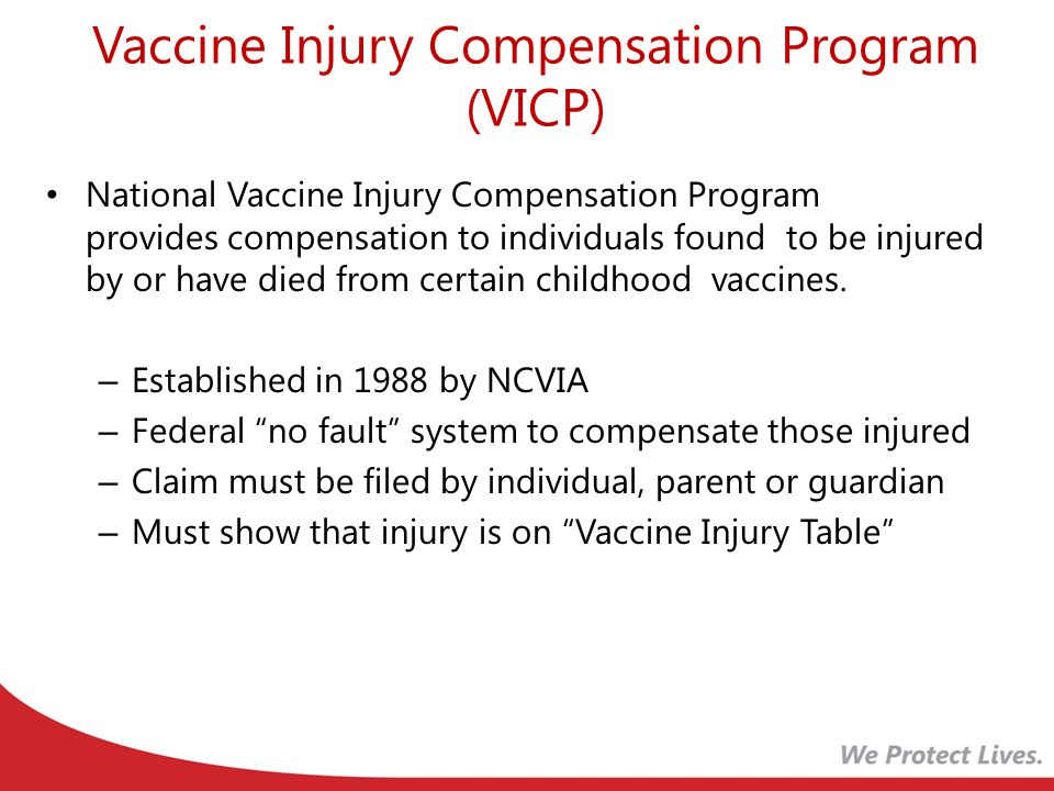 Vaccine Injury Compensation Program (VICP) National Vaccine Injury Compensation Program provides compensation to individuals found to be injured by or