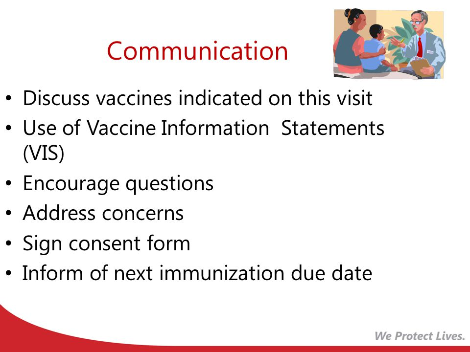 Communication Discuss vaccines indicated on this visit Use of Vaccine Information Statements (VIS) Encourage questions Address concerns Sign consent form Inform of next immunization due date