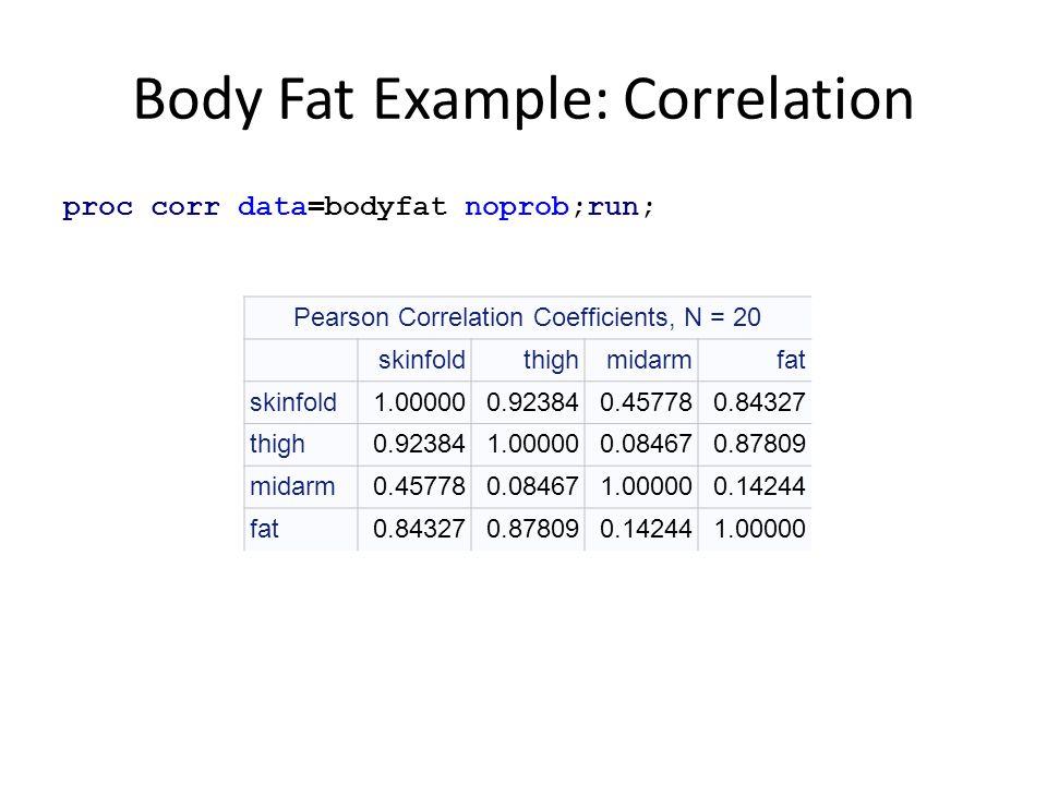 Body Fat Example: Correlation proc corr data=bodyfat noprob;run; Pearson Correlation Coefficients, N = 20 skinfoldthighmidarmfat skinfold1.000000.9238