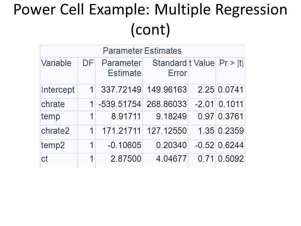 Power Cell Example: Multiple Regression (cont) Parameter Estimates VariableDFParameter Estimate Standard Error t ValuePr > |t| Intercept1337.72149149.