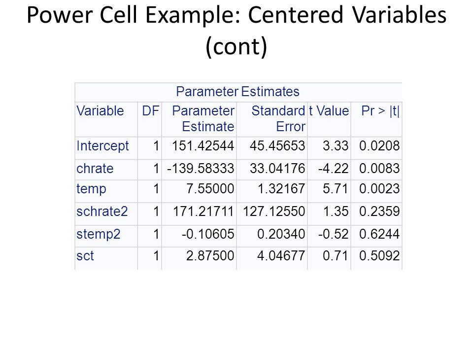 Power Cell Example: Centered Variables (cont) Parameter Estimates VariableDFParameter Estimate Standard Error t ValuePr > |t| Intercept1151.4254445.45