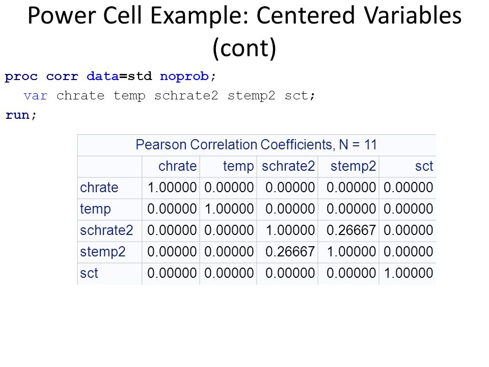 Power Cell Example: Centered Variables (cont) proc corr data=std noprob; var chrate temp schrate2 stemp2 sct; run; Pearson Correlation Coefficients, N