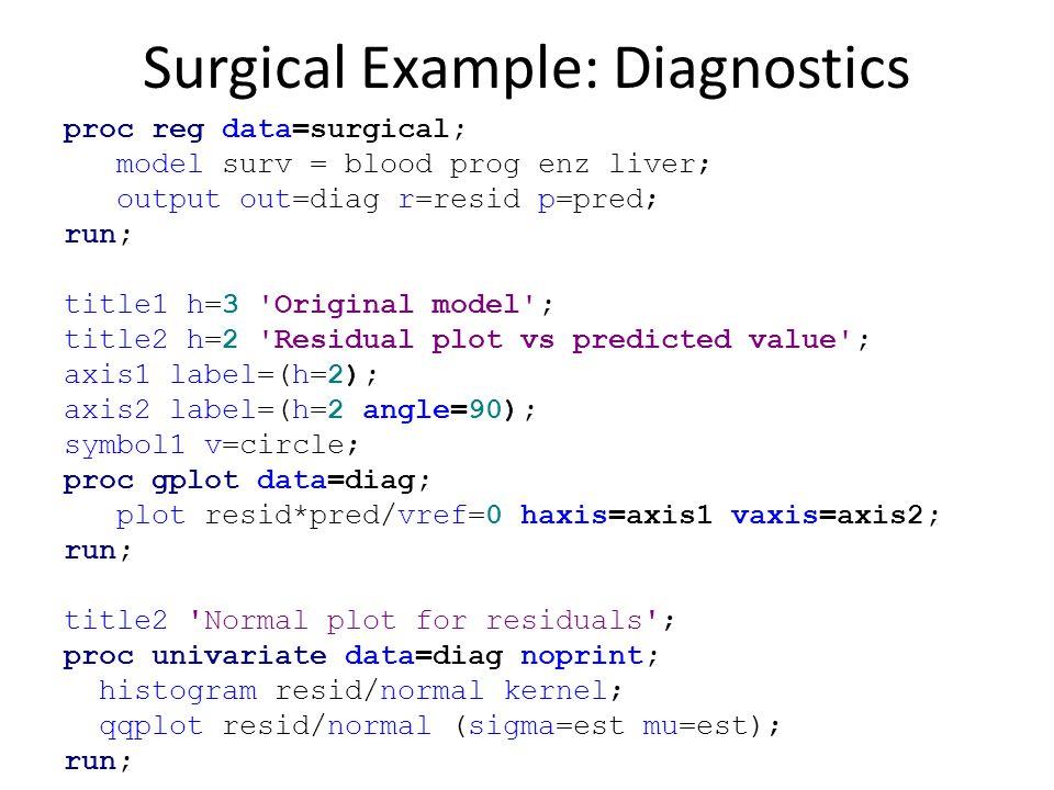 Surgical Example: Diagnostics proc reg data=surgical; model surv = blood prog enz liver; output out=diag r=resid p=pred; run; title1 h=3 'Original mod