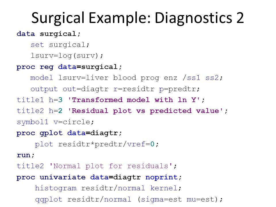 Surgical Example: Diagnostics 2 data surgical; set surgical; lsurv=log(surv); proc reg data=surgical; model lsurv=liver blood prog enz /ss1 ss2; outpu