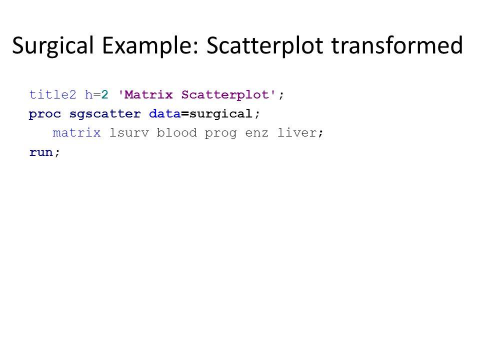 Surgical Example: Scatterplot transformed title2 h=2 'Matrix Scatterplot'; proc sgscatter data=surgical; matrix lsurv blood prog enz liver; run;