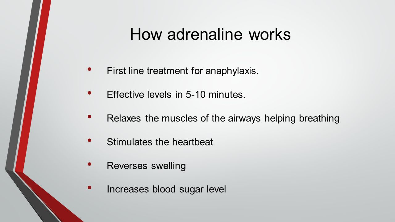 How adrenaline works First line treatment for anaphylaxis. Effective levels in 5-10 minutes. Relaxes the muscles of the airways helping breathing Stim