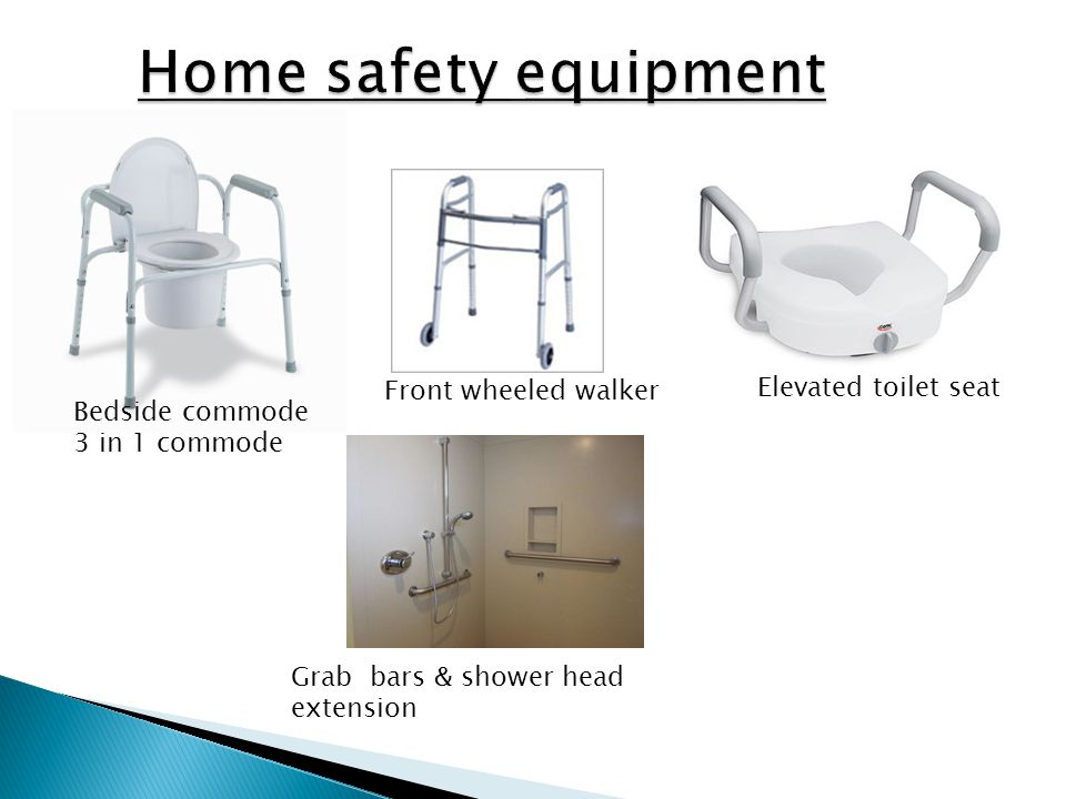 Bedside commode 3 in 1 commode Front wheeled walker Elevated toilet seat Grab bars & shower head extension