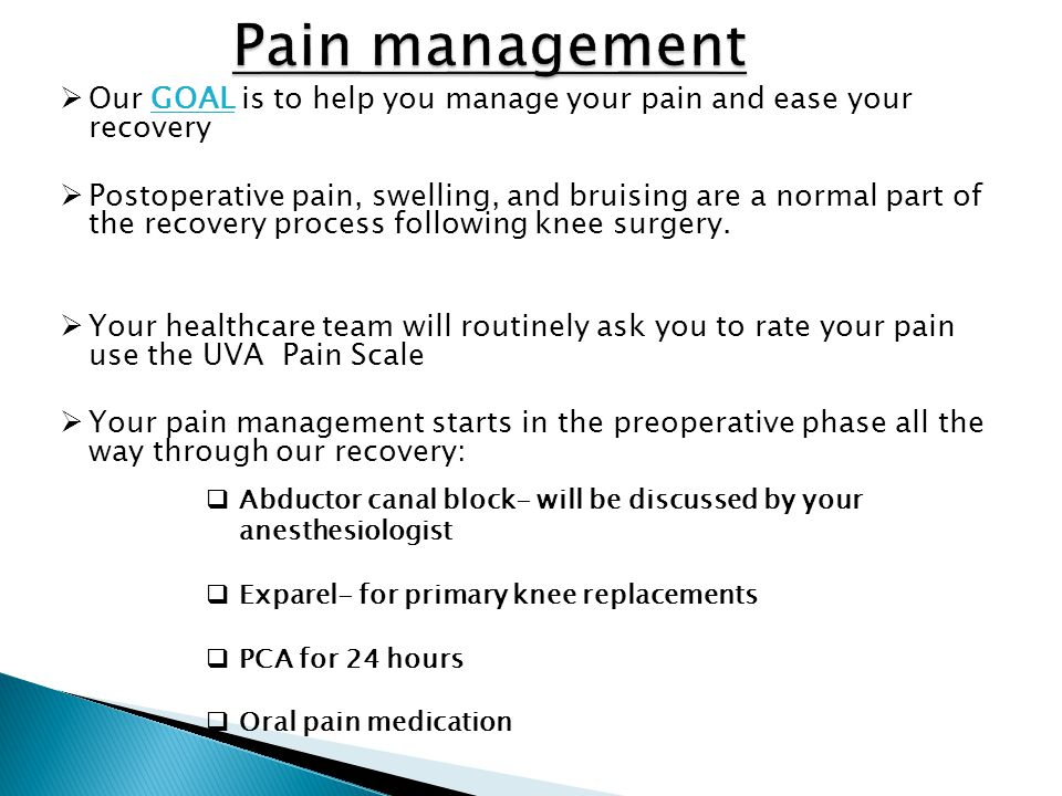  Our GOAL is to help you manage your pain and ease your recovery  Postoperative pain, swelling, and bruising are a normal part of the recovery proce