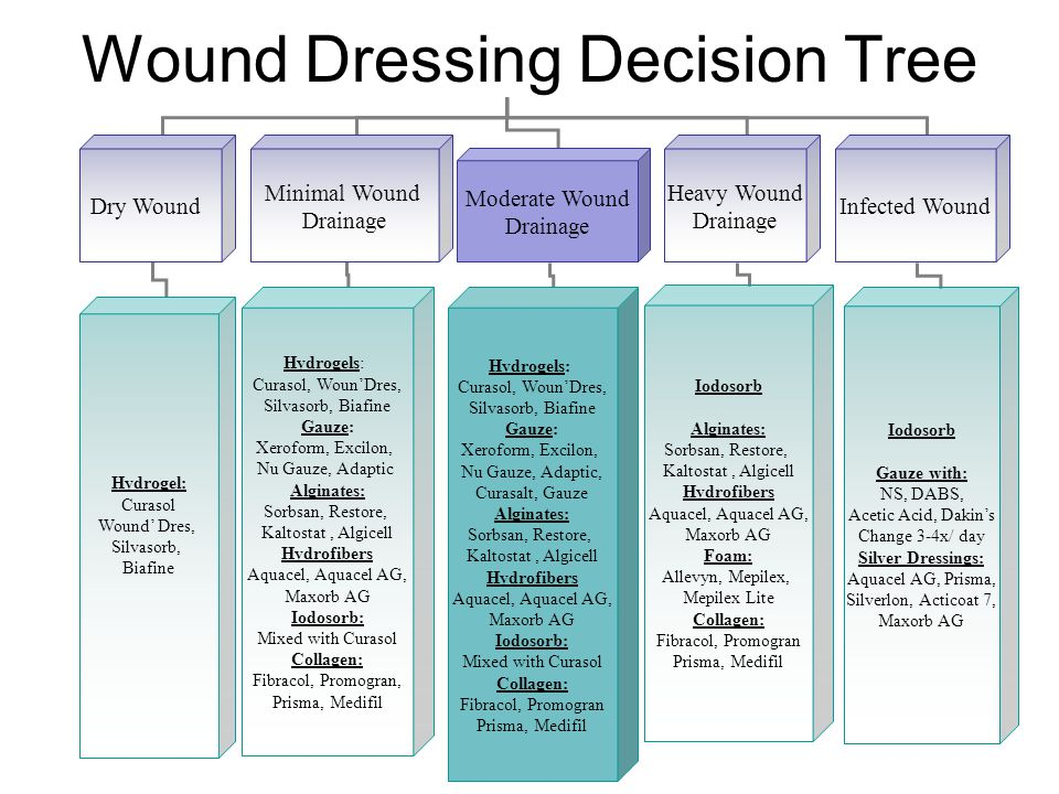Wound Dressing Decision Tree Dry Wound Minimal Wound Drainage Moderate Wound Drainage Heavy Wound Drainage Infected Wound Hydrogel: Curasol Wound' Dre