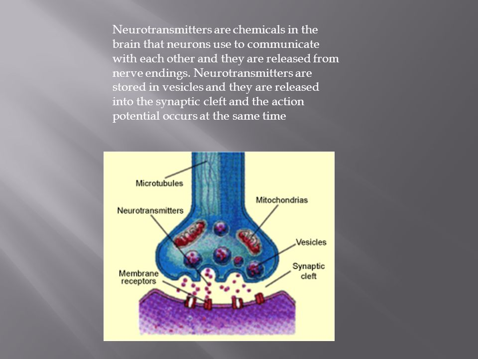 Neurotransmitters are chemicals in the brain that neurons use to communicate with each other and they are released from nerve endings.