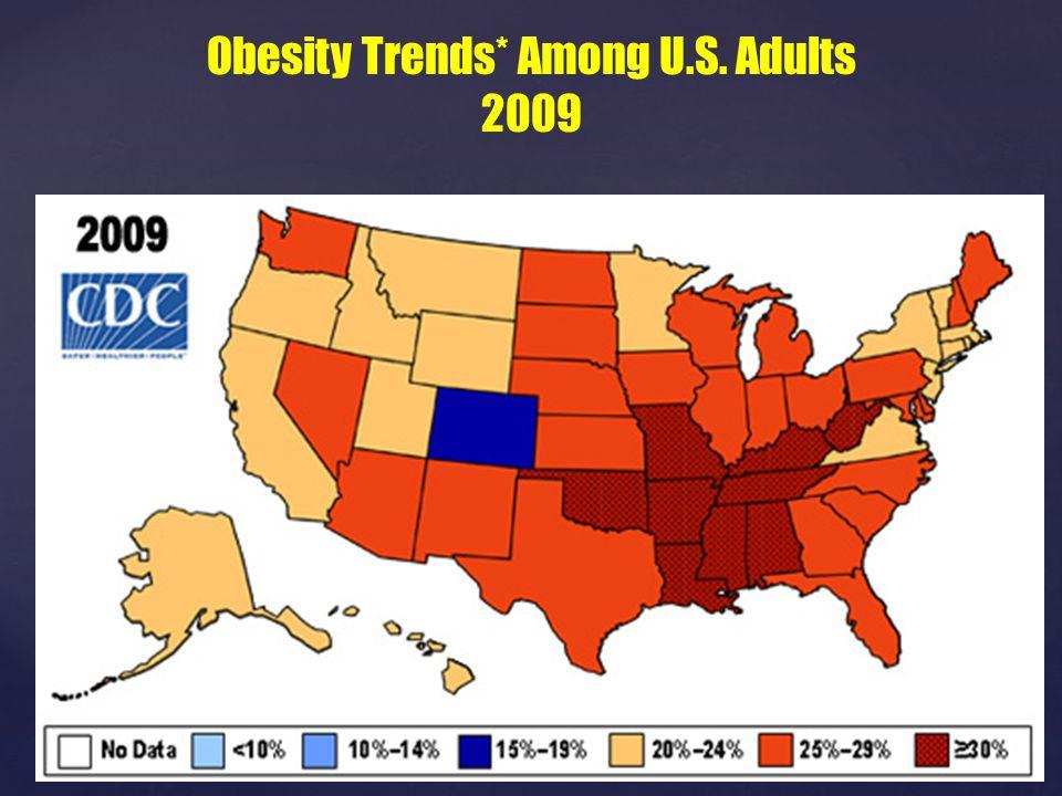 No Data <10% 10%–14% 15%–19% 20%–24% ≥25% Obesity Trends* Among U.S. Adults 2009 No Data <10% 10%–14% 15%–19% 20%–24% ≥25%
