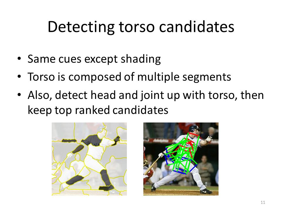 Detecting torso candidates Same cues except shading Torso is composed of multiple segments Also, detect head and joint up with torso, then keep top ra