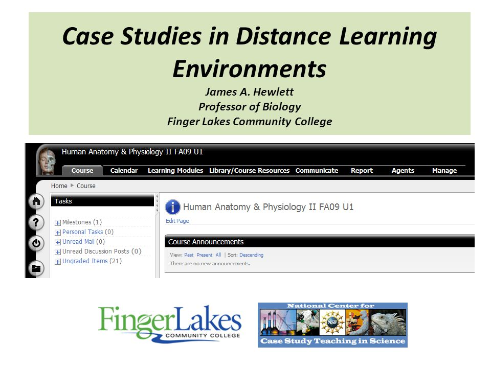 Case Studies in Distance Learning Environments James A.
