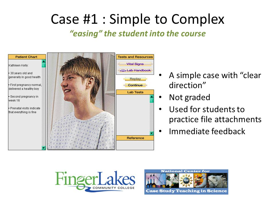 A simple case with clear direction Not graded Used for students to practice file attachments Immediate feedback Case #1 : Simple to Complex easing the student into the course
